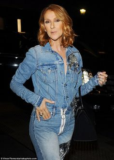 Double denim dare: Celine Dion seemed to have taken inspiration from Britney Spears and Justin Timberlake's  2001  looks as she stepped out in Los Angeles on Thursday