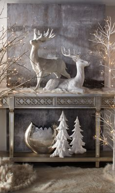 Christmas Table An Entry Sofa Buffet Decorated With Reindeer White Tree Figurines Surrounded By Lighted Trees
