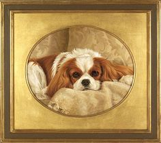 """""""Thoughtful Moments"""" painting by Pamela Hall. I love her work. Cavalier King Spaniel, Cavalier King Charles Dog, King Charles Spaniel, Cute Dog Photos, Dog Pictures, Animals And Pets, Cute Animals, Dog Lady, Animal Paintings"""