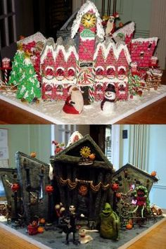 Gingerbread House Cake. Nightmare Before Christmas. Halloween Town on one side & Christmas on the other! by ophelia