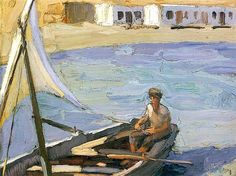 Boat with Sail (Panormos, Tinos) - Nikolaos Lytras Greek Paintings, Oil Paintings, National Gallery, Boat Painting, Post Impressionism, Guy Drawing, Drawing Tips, Greek Art, Conceptual Art