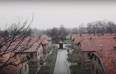 Each shot reveals a new angle on the site of one of mankind's worst atrocities. Also captured by the drone are wooden outhouses at Birkenau, which formed part of the Auschwitz complex. These were where prisoners, packed in like sardines, slept in cramped bunks.