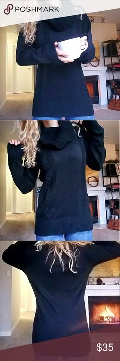 """Black Cowell Neck Sweater Oversized soft and warm sweater. Staple piece! If you're shorter than 5'7"""" this could be worn as a sweater dress with otk boots! Super chic with long sleeves that can be cuffed and would look great layered. PattyBoutik Sweaters Cowl & Turtlenecks"""