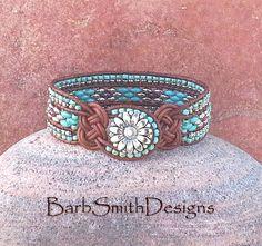 Plata turquesa cuentas Wrap brazalete pulsera de cuero  un