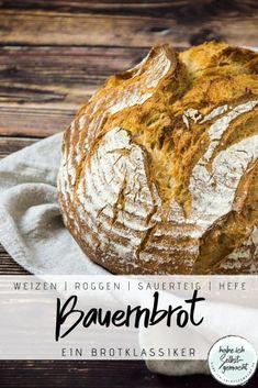 Rezept für ein klassisches deutsches Bauernbrot mit Weizen- und Roggenmehl. Als Triebmittel wird Sauerteig und ein wenig Frischhefe verwendet. Der Teig wird abends angesetzt, geht dann über Nacht und wird am nächsten Morgen gebacken. Damit ist das Brot ganz unkompliziert und leicht herzustellen und wird durch die lange Gehzeit trotzdem sehr bekömmlich. Bread, German, Food, Bread Baking, Rye, Home Made, Deutsch, Meal, German Language