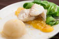 Orata+al+vapore+con+marmellata+di+agrumi+e+zenzero+e+sorbetto+al+bergamotto