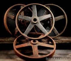 Vintage Industrial Factory Cart Wheels from Iron Anarchy.