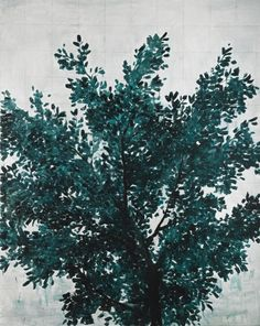 Zhang Enli (Chinese, b. Tree, Oil on canvas, x cm. John Cage, Drawing Sketches, Drawings, David Hockney, Contemporary Paintings, Oil On Canvas, Palette, Chinese, Green