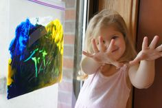 """Great idea - put finger paint in large ziploc bag & tape to wall/window for mess free """"painting""""!"""