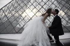 Love to be in Louvre. Portrait of bride wearing tulle ball gown by Vera Wang Bridal Collection.