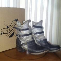 Freebird by Steven: Apex Stone Boot Leather upper, lining. Man-made sole. 1.75 inch heel height. 12 inch shaft circumference. 9 inch shaft height.   Gently used and still in original box. Steven by Steve Madden Shoes Ankle Boots & Booties