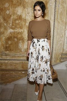 floral midi skirt + brown sweater + pearl earrings