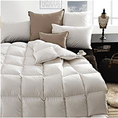 SNOWMAN White Goose Down Comforter Full/Queen Size 100% Cotton Shell Down Proof-Solid White Hypo - Goose Down Comforters