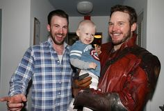 Chris Evans and Chris Pratt. Christopher's Haven, Boston. 2.6.15.