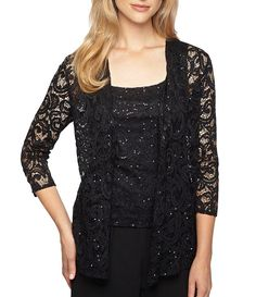 01144f1e0d6 Alex Evenings 3 4 Sleeve Sequined Illusion Neck Twin-Set Evening Tops