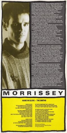 Morrissey discusses the lyrics to Hand In Glove with Smash Hits Magazine (from Morrissey Scans)