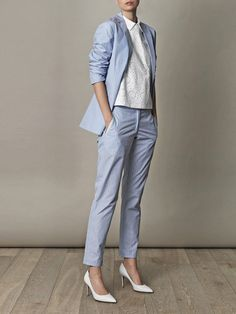 Light Blue Women Business Office Tuxedos Ladies Work Wear Prom Suits Custom Made Dresscode Smart Casual, Business Casual Outfits, Business Wear, Office Outfits, Suit Measurements, Suit Fashion, Womens Fashion, Look Formal, Dress Suits