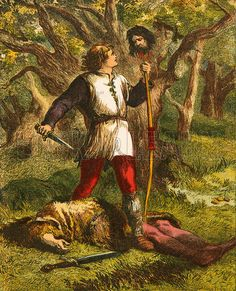 "Robin Hood and Guy of Gisborne.  Illustration from the The Book of Brave Old Ballads (Ward Lock, c 1870) - - - - -  The original of ""Robin Hood and Guy of Gisborne"" (1475-1506)"