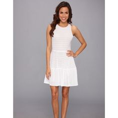 BCBG MaxAzria White Cassandra Netted Aline Dress BCBG MaxAzria White Netted Aline Dress. Round Neckline, Seamed waistline, fully lined. Brand new with tag. Size large. BCBGMaxAzria Dresses