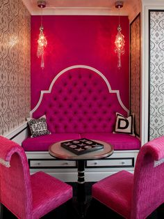 Sue Firestone: Glamorous nook with arched diamond tufted hot pink built-in banquette!