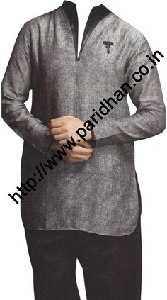 Desirable look high neck long sleeve linen kurta. We are using pure linen fabric for this tunic style linen shirts. It is the best fabric which you can use in summer or for beach wedding.