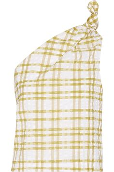 Cut from tactile checked seersucker, Rosie Assoulin's top has one knotted shoulder and is partially elasticated at the waist to create a subtly billowing effect. The mustard and white colors look great with denim.