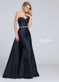 Ellie Wilde EW117051 - Strapless sweetheart Mikado sheath with A-line overskirt, hand-beaded waistband. Removable straps included.