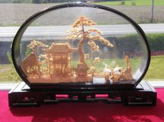 Vintage Asian Oriental Chinese Lacquer Diorama Cork Carving Art Sculpture  45$