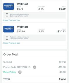 $25.91 Walmart GC for $10.91 Read carefully below but first Click the link in my bio @tomorrowsmom . . Download the Raise App. Add any date night restaurant or fandango card. Add Target Toys RUs or other card. Make sure it's $25.00. Or more. Use referral code: TMOM ($5). Use promo code: DATENIGHT. Then GO back remove the unwanted gift cards. Check out promo codes should still be active. . .  Join our Facebook Group for these Savings Tips!! . . The discounted gift cards add up one per mobile…