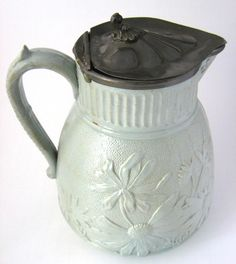 Green Salt Glaze Pitcher Jug Pewter Lid Antique Art Nouveau Basket Daisies 1860s