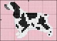 Cocker Spaniel Black and White Free Cross Stitch / Knitting Dog Pattern Cross Stitch Charts, Cross Stitch Embroidery, Cross Stitch Patterns, Knitted Animals, Beaded Animals, Flower Chart, Native American Patterns, Wedding Cross Stitch, Peler Beads