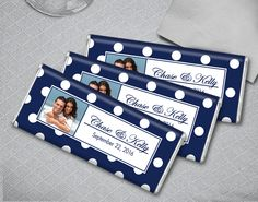 Polka Dot Navy + White Wedding Favors - Personalize by adding your favorite engagement photo for a lasting keepsake. Candy Bar Wedding, Wedding Favours, Party Favors, Fall Wedding, Diy Wedding, Dream Wedding, Wedding Ideas, Rehearsal Dinner Favors, Polka Dot Wedding