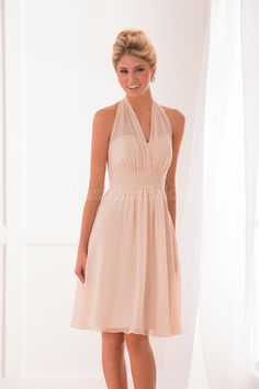 Jasmine Bridal Bridesmaid Dress B2 Style B173001 in Taupe. A youthful poly chiffon bridesmaids dress and a versatile choice for your girls. Features a halter neckline and an A-line skirt.