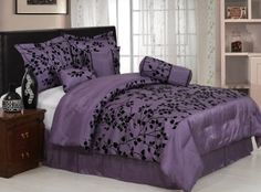 "Amazon.com: 7 Pieces Purple with Black Velvet Floral Flocking Comforter (92""x90"" in Inch) Set Bed-in-a-bag Queen Size Bedding: Home & Kitchen"