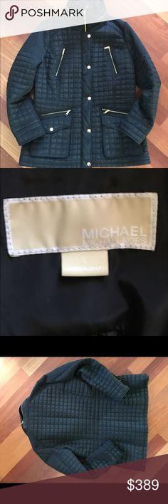 Michael Kors Quilted Light Jacket w Hidden Hood Michael Kors Quilted Light Jacket w Hidden Hood.  NWOT.  Gold zipper embellishments. Size L.  Retails $525 Michael Kors Jackets & Coats Puffers