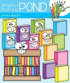 Crazy Books Clipart FREE for Today Only