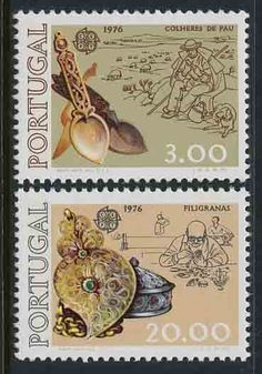 Portugal Complete Set of Two Stamps featuring Filigree Work and Wood Work.