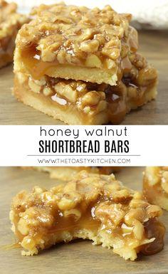 Honey Walnut Shortbread Bars by The Toasty Kitchen #shortbread #bars #dessert #walnuts #honey #honeycaramel #caramel #rich #homemade #fromscratch #recipe Homemade Desserts, Delicious Desserts, Dessert Recipes, Bar Recipes, Kitchen Recipes, Caramel Shortbread, Shortbread Bars, Honey Dessert, Dessert Bars
