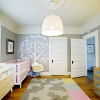 modern nursery eclectic-nursery for boy and girl twins Boy And Girl Shared Bedroom, Kids Bedroom, Bedroom Ideas, Shared Rooms, Master Bedroom, Nursery Room Decor, Nursery Ideas, Nursery Design, Nursery Lamps