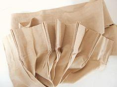 Vintage Tan / Beige Antique Satin Pleated Drapes, 1 Panel
