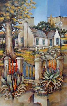 Artwork of Peter Wooldridge exhibited at Robertson Art Gallery. Original art of more than 60 top South African Artists - Since Barn Pictures, Book Page Art, Cottage Art, South African Artists, Name Art, Painted Books, Garden Crafts, Painting Techniques, Painting Inspiration