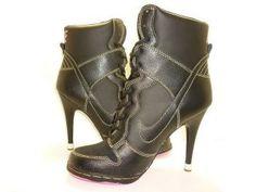 "Nike Dunk SB High-Top Womens High Heels-7 Model: 1394 Market Price:$145.00  Sizes:5-1/2  9-1/2  over 4"" heel Black"