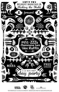 A silkscreen poster design for the Belmont Bookings & Kicking the Habit Day Party