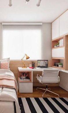 Aposte na escrivaninha para quarto feminino para ter um espaço com a sua cara. Home Room Design, Bedroom Interior, Room Decor Bedroom, Stylish Bedroom, Room, Small Room Bedroom, Study Room Decor, Room Design, Home Bedroom