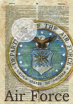 Druck: Luftwaffe Emblem Mischtechnik Zeichnung auf antike Wörterbuch-Seite