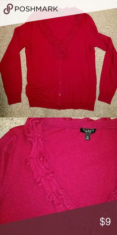 Talbots cardigan Cranberry Red cardigan with ruffled collar Talbots Sweaters Cardigans