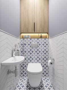 fish scale tiles, hexagon tiles and quatrefoil tiles the latest tiles 18 Small Toilet Design, Bathroom Design Small, Bathroom Interior Design, Bathroom Styling, Modern Toilet Design, Small Downstairs Toilet, Small Toilet Room, Bad Inspiration, Bathroom Inspiration
