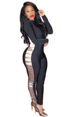 6fec74a7fd7 Women s Sexy Bling Long Pants Party Bodycon Jumpsuit