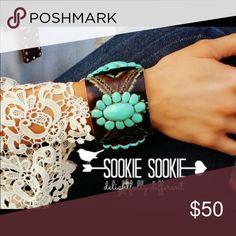 Sookie sookie tooled turquoise leather cuff Tooled turquoise clay sookie sookie leather cuff Sookie sookie Jewelry Bracelets