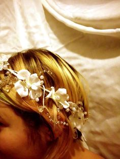 bridal crown pearl crystal hydrangea halo fairy by artforahome, $30.00